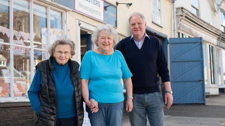 Grace Webster and Ruth and Stephen Boulton, owners of Websters Newsagents. Picture: Sarah Lucy Brow