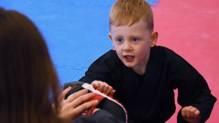 Five-year-old Alexander Rowe practising punches in his Kuk Sool Wan class which is one of the commun