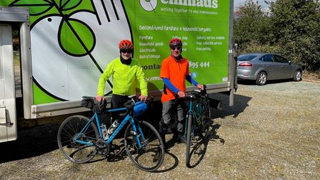 John Pinnington and Paul Appleby, who are cycling 480 miles across the UK, for Emmaus charity.