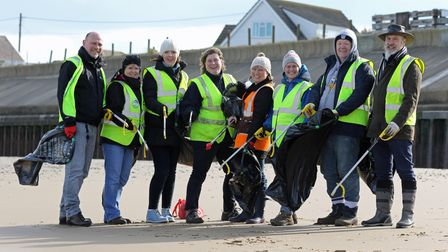 Pictured at the start of their beach clean are (from left) Mike Williamson, Karen Bonshor, Zoe White