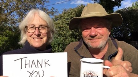 Becky and John Marshall-Potter thanking supporters who helped crowdfund last year's FolkEast festival