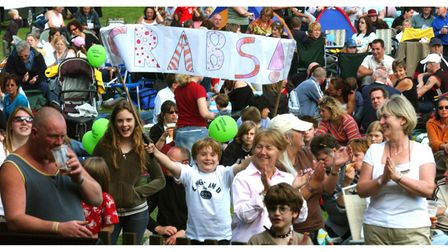 Fans supporting Clare Rhythm and Blues Society at Clare World Music Festival in 2004