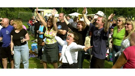 Cheering on the acts at Clare World Music Festival in 2004