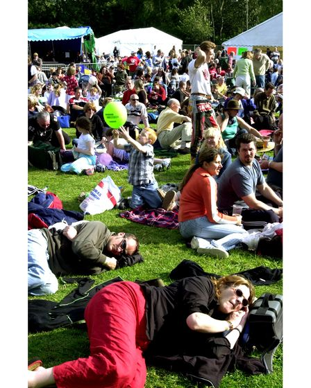 The large crowd chilling out at Clare World Music Festival in 2004