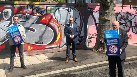 Stepney householderJonathan Moberly (left) joins deputy mayor and mayor at antisocial hotspot in Arbour Square