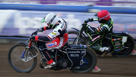 Dan Bewley ahead of Danny King, early in heat seven, but it was the Witches skipper who came through