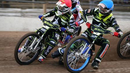 Jason Crump and Anders Rowe, leading the opening heat of the 2021 season, on their way to a 5-1.