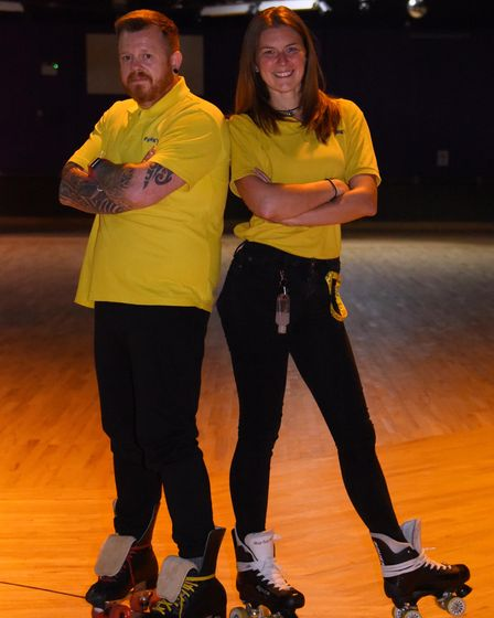 Rink stewards Simon 'Wez' Weston and Heidi England at Funkys which has reopened after restrictions w
