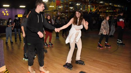 Roller skaters enjoying the rink at the reopened Funkys at the first over 18s skate since restrictio