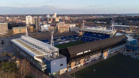 A general view of the stadium from above before the Sky Bet League One match at Portman Road, Ipswic