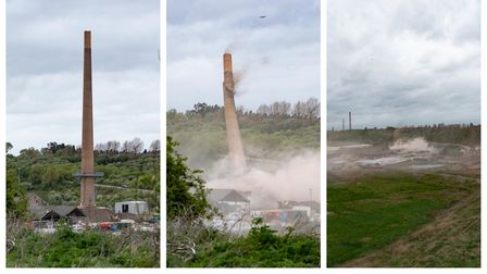 A slice of Whittlesey's history disappearing as two 300ft brickwork chimneys are demolished at Saxon Pits