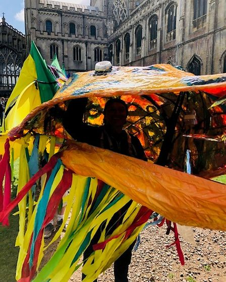 Ely Eel Dayreturns for 2021 on July 17. This picture is of Ellie the Eel on parade near Ely Cathedral.