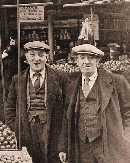 Traders in Gouldston Street, off Petticoat Lane, in the pre-War years of the 1930s.