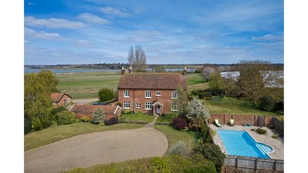 The 18th century farmhouse and pool at Hill Farm, Martlesham, on the market for £7.5million
