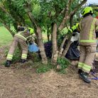 Suffolk firefighters try to get the horse out at Ballingdon Hill, near Sudbury, Suffolk
