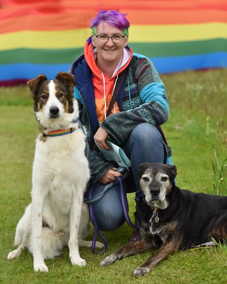 The Stody Rainbow Garden Party returns for 2021. Kerry Davis and her dogs, George and Pegasus. Bylin