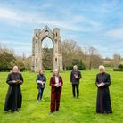Launch of the Walsingham Way at Walsingham Abbey. Elizabeth Meath Baker, centre, with from left: Fat