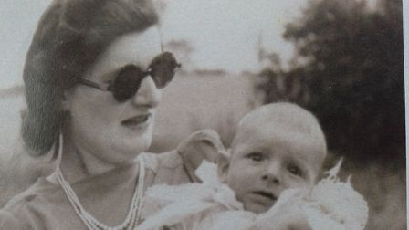 Pauline with her son Richard in 1943. He was born during air raid over Great Yarmouth and she was ba