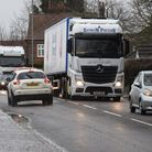 Traffic chaos in Attleborough as the automatic railway barriers remain closed for 90 mins. Picture:
