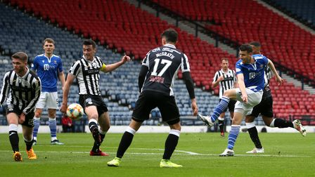 St Johnstone's Guy Melamed has a shot on goal during the Scottish Cup Semi Final match at Hampden Pa