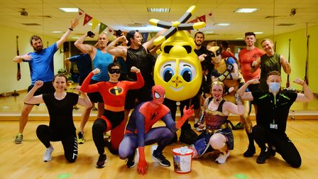 A superheroes fitness event takes place at Nuffield Gym in Norwich to raise money for the Air Ambula