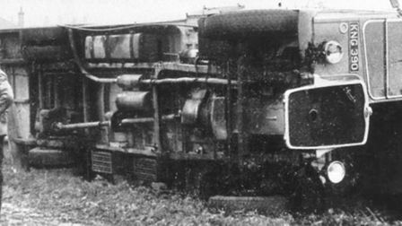 Whirlwind overturns Sutton bus - May 22, 1950