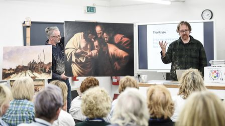 Artist Martin Kinnear delivers a lesson at the Norfolk Painting School