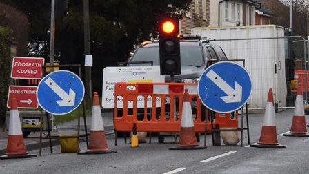 Roadworks begin again on London Road in Attleborough to widen pavements for shared cycling and walkw