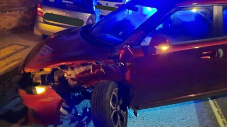 The driver of this car collided with three parked cars in Wilburton on Sunday night