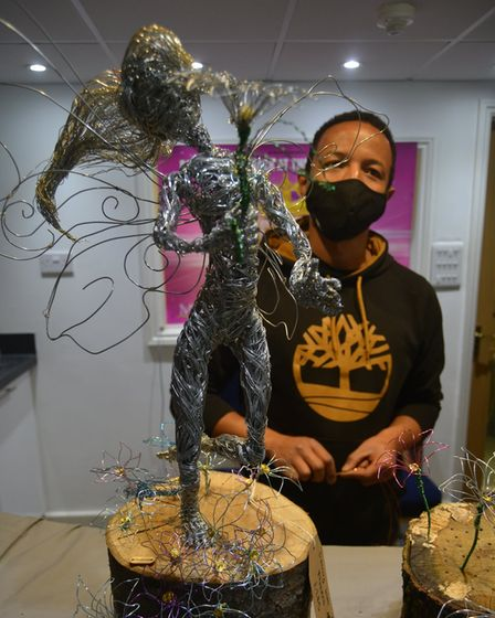 Mr Ds Wire Art exhibited at Ely's Spring Pagan and Alternative Fayre 2021