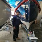 Liam Pink, the new skipper of theLucy Lavers, put the final touches on the Dunkirk