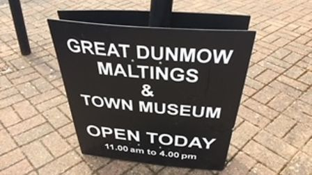 One of the public signs forGreat Dunmow's Maltings and Museum