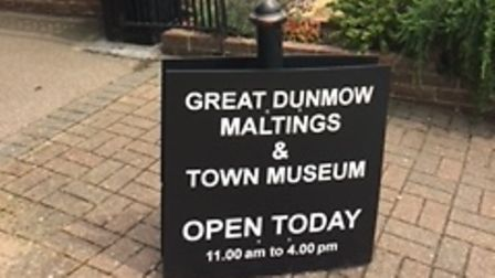 Signs point the way to Great Dunmow Maltings and Town Museum