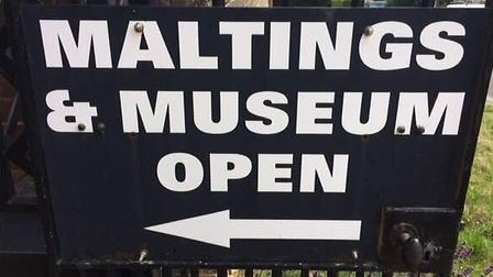 The sign points the way to Great Dunmow's Maltings and Museum