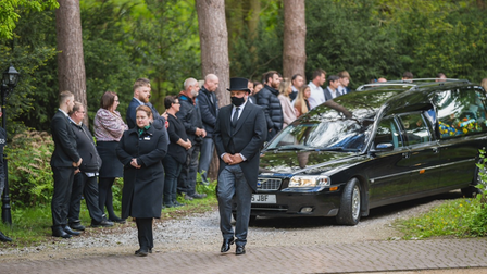 Pictures taken of the funeral service for Dean Allsop at Colney Wood.