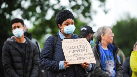 A Black Lives Matter protester at Christchurch Park in Ipswich, June 2020
