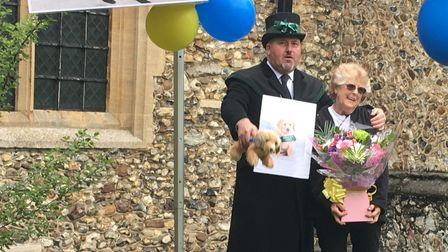 Pam Allenfinished her Guide Dogs fundraiser through 2K walks through Great Dunmow at St Mary's Church