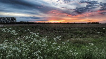 Sunset in Ely overlooking the Fens.