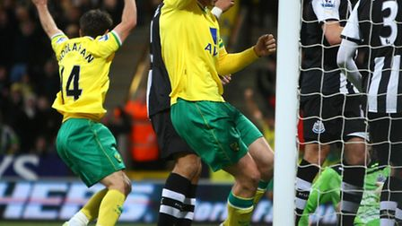 Wes Hoolahan celebrates his goal against Newcastle United when the two teams met in 2011. Picture: P
