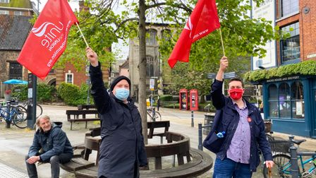 Protestersout in support for the NCSL workers due to strike later this week