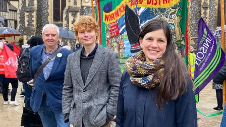 Green Party Councillors Paul Neale, Jamie Osborn and Sandra Bogelein at the NCSL protest