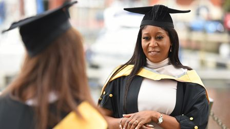Petronella Gogwe speaks to Sally Jackson at a University of Suffolk Mark Your Achievement event