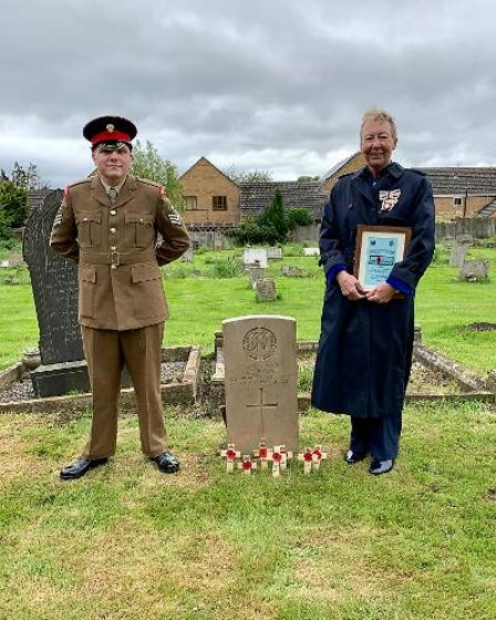 Julie Spence OBE, the Lord Lieutenant of Cambridgeshire and her cadet at the service