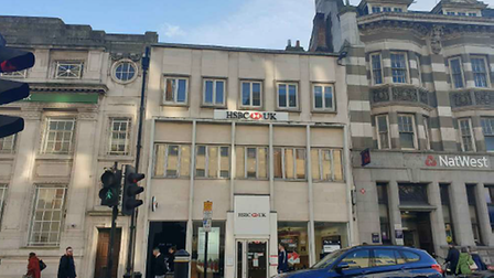 The front of HSBC branch, Colchester High Street