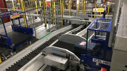 The new baggage system under the terminal at London Stansted Airport,designed byBeumer Group