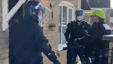 Two menarrested in connection with drug dealing in Chatteris after police carried out two warrants in the town.