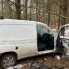 A vehicle was found dismantled and abandoned in Thetford Forest.