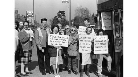 A poll tax bus protest in March 1990