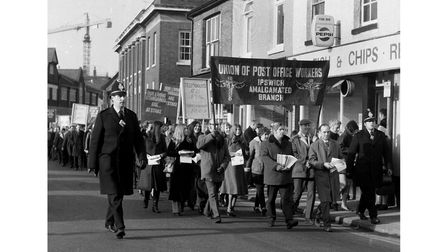 A GPO protest march through Ipswich in January 1971