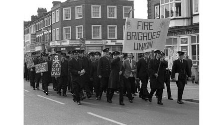 A protest march by Clacton firefighters in March 1977